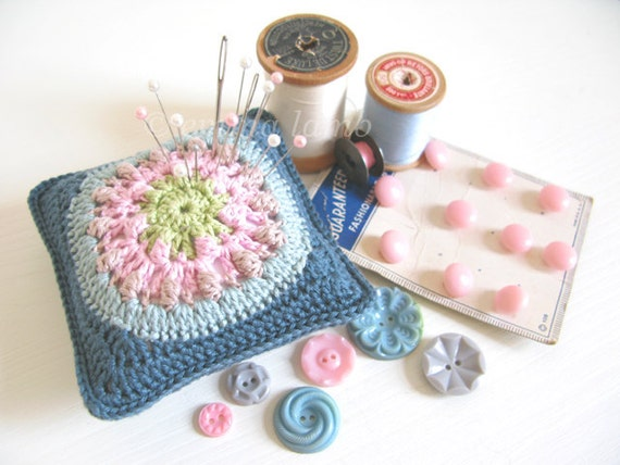 Betty : modern folk pincushion hand crochet in teal, duck egg blue, taupe & pink - ready to ship