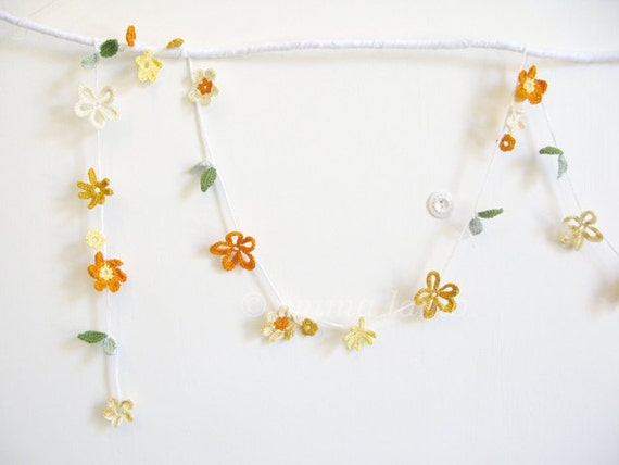 crochet flower garland... Molly - yellow and orange spring blossom - MADE TO ORDER