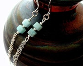 Amazonite Gemstone Earrings. Sterling Silver Chains. Long Earrings.  Raindrops