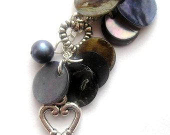 CLEARANCE SALE. Blue Purse Charm. Pearls, Mother of Pearl, Silver Heart. Something Blue or Rear View Mirror Charm