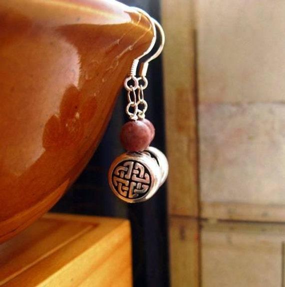 Reserved Irish Celtic Earrings. Cork Red Marble. Celtic Knot. Rare Stone.   Roisin