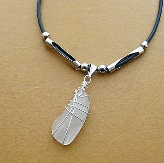 RESERVED White Sea Glass Pendant from Ireland. Optional Rubber Choker. Refreshed