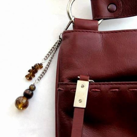 SALE Beaded Purse Charm, Jeans Fob, or Zipper Pull. Amber. Brown Bag Charm.