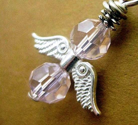 Guardian Angel Charm or Ornament. Pink Crystal, Baby Angel. Rear View Mirror Charm. Angel Pendant.