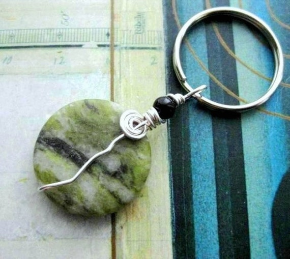 Homemade Celtic Gifts: Connemara Marble Keychain. Celtic Irish Gifts. Handmade In