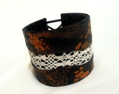 SALE Leather and lace cuff bracelet.  Vintage chic inspired leather bracelet