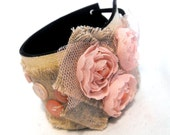 Leather, linen and ribbon bracelet. Eco friendly shabby chic OOAK textile cuff SALE