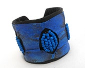 Blue leather bracelet with seed beads SALE