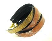 Leather straps bracelets. Set of 5