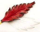 Leaf leather bracelet  burgundy color