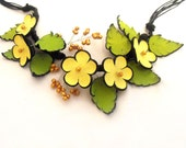 Statement necklace Leather necklace Yellow color