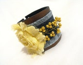 Flower Leather bracelet with shabby rose