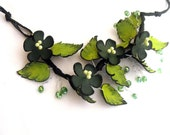 Statement necklace Branch leather necklace Green color