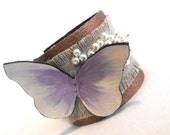 Butterfly linen and leather bracelet. Leather jewelry
