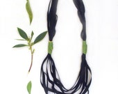 Long leather necklace. Multistrand statement necklace