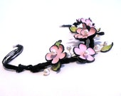 Flowers statement leather necklace sakura blossom