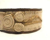 Eco style leather bracelet with linen and hemp