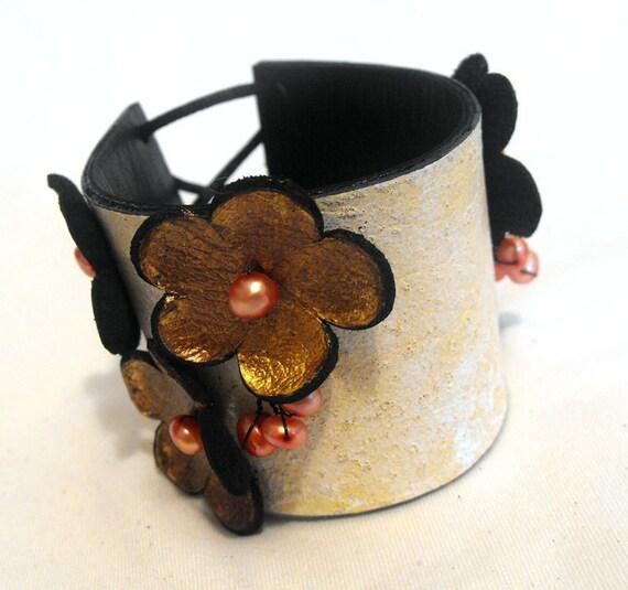 Leather bracelet Corsage floral leather cuff bracelet. 50% OFF Sale
