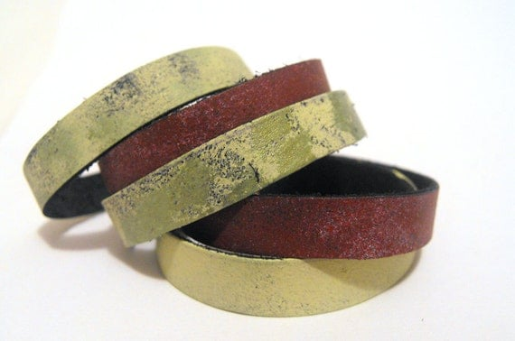Multistrand leather bracelets. Set of 5