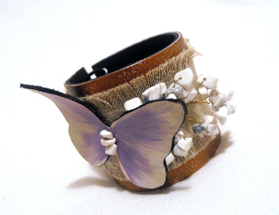 Butterfly leather bracelet with linen. Leather jewelry