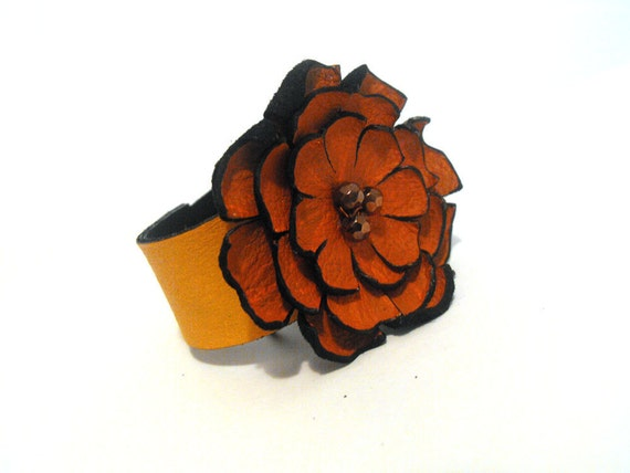Terracotta leather bracelet corsage Leather jewelry