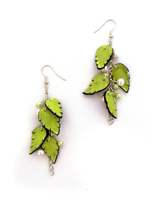 Dangle long earrings with leaves Leather earrings