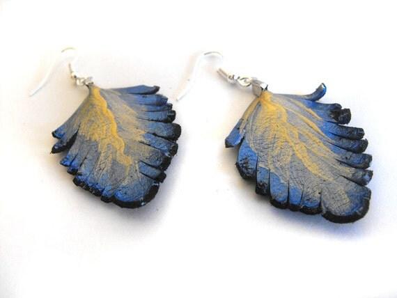 Leather feather earrings Feather earrings Leather earrings Metallic blue color