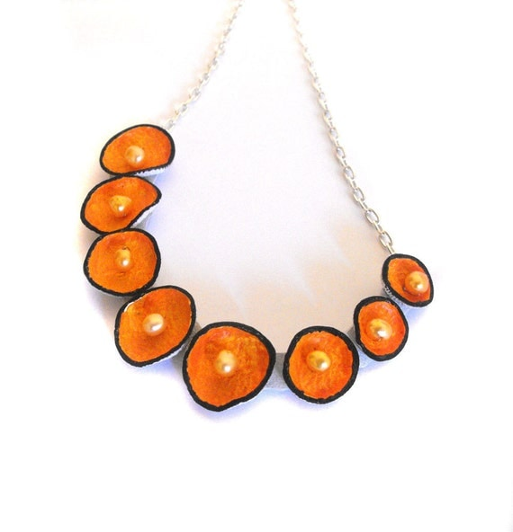 Pod leather necklace in bright orange color Statement jewelry