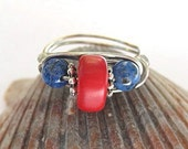 Red coral ring with blue lapis, wire wrapped, any size