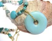 Aquamarine necklace, gemstone jewelry, turquoise necklace, moonstone, pearl necklace, amazonite, blue, white, aqua blue, statement necklace