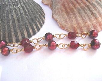 Garnet red earrings, 14k gold, pearls, Czech glass, January birthstone