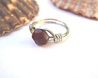 Petite birthstone ring January garnet red, childs ring, wire wrapped jewelry, any size