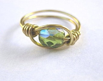 Peridot green ring or toe ring - wire wrapped rings - lime green - summer jewelry - August birthstone ring - green jewelry - beach jewelry