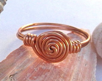 Spiral copper ring - toe ring - wire wrapped rings - copper jewelry - spiral jewelry - bohemian rings -  copper jewelry - custom made