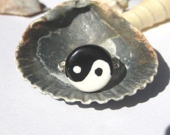 Yin Yang ring, black and white wire wrapped ring, any size