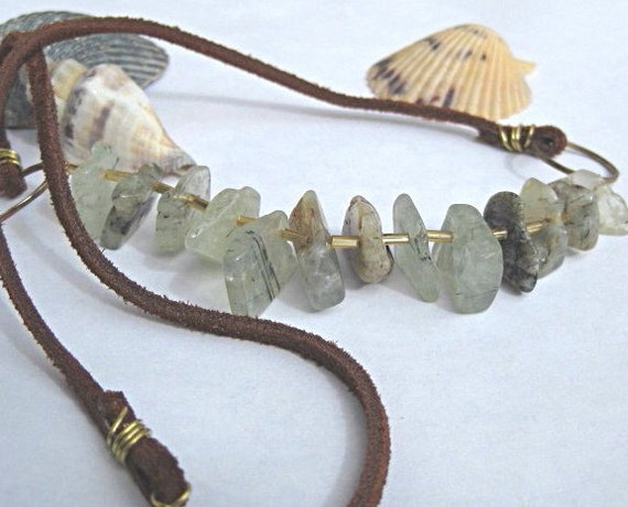 Quartz and leather necklace, bohemian jewelry