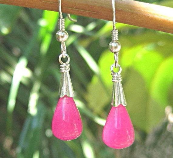 Hot pink earrings candy jade teardrops