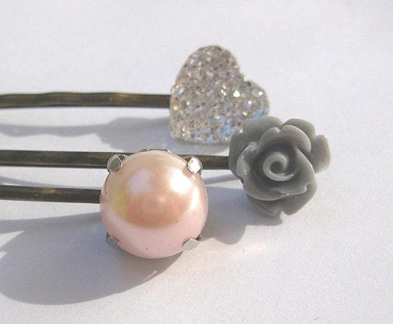 Blush pink and gray, hair pins,  heart and resin rose hair pins, wedding