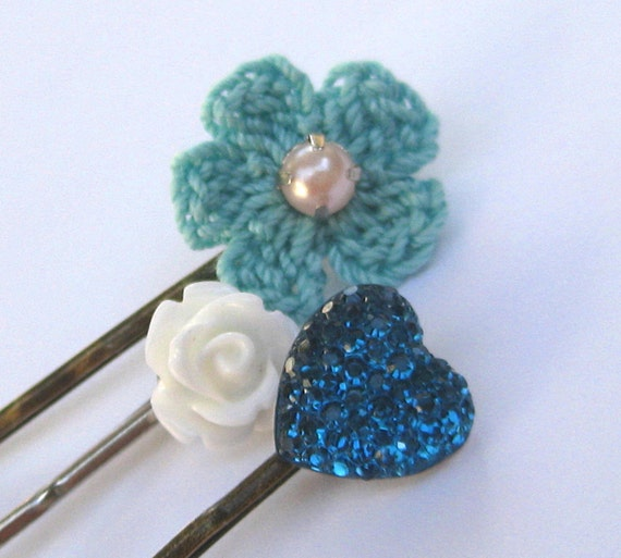 Turquoise bobby pin set, assorted hair pins, crochet, flowers and heart