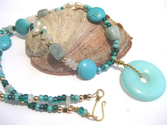 Turquoise necklace, gemstone jewelry, moonstone, pearl necklace, amazonite, donut pendant, blue and white, aqua blue, statement necklace