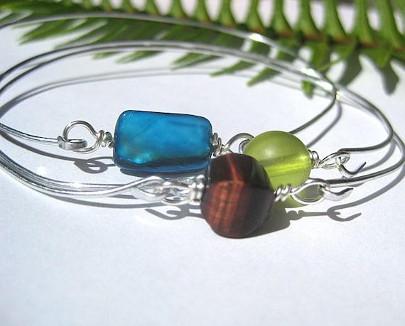 Reserved for Karen Stacking bracelet set, turquoise, brown, green, bangle bracelets