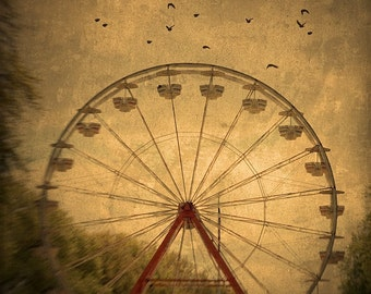 "Ferris Wheel Art ""Dark Ride"" Nature Photography, Carnival Art, Carnival Photo, Bird Photo, Rust Brown,Vintage Wall Decor, Ferris Wheel Print"