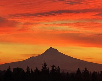 "Mountain Print, Sunrise Photo ""Hood Sunrise"" Portland Oregon Art, Mountain Photo, Oregon Print, Mount Hood Photo, Orange Sky Sunrise Picture"