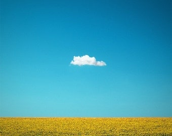 "Nature Photography ""The Happy One"" Lone Cloud Art, Blue Sky Photo, Yellow Sunflower Photo, Fine Art Photo Print, Summer Art, Minimalist Art"