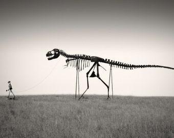"T-Rex Dinosaur Nature Photography ""Mans Best Friend"" Dino Skeleton Black and White Photo, Landscape Wall Decor  Dinosaur Art Photo Print"