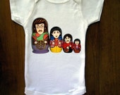 Beatles Russian Nesting Dolls Baby Onesie, Great Baby Shower Gift, First Birthday Gift Or Party Favor