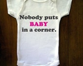 TrulySanctuary Remembers Patrick Swayze, Nobody Puts Baby In a Corner, Dirty Dancing Baby One Piece Bodysuit, Romper, Jumper, Onesie From TrulySanctuary, Great Baby Shower Gift, First Birthday Gift Or Party Favor