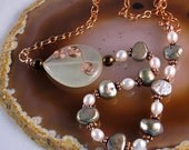 Green and white pearls with copper necklace
