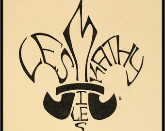 Unique Gift Personalized New Orleans Louisiana Fleur de Lis Name drawing