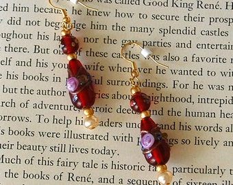 Red Lampwork Glass Bead Earrings